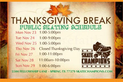 2015 Thanksgiving Break Skating Schedule